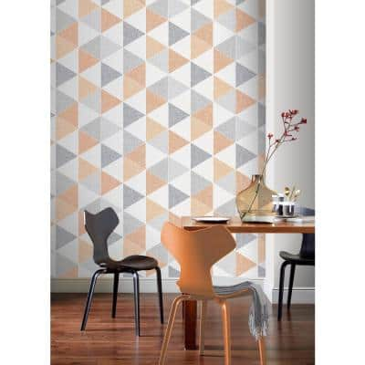 Scandi Triangle Orange Paper Strippable Roll (Covers 57 sq. ft.)