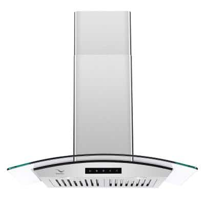 36 in. 480 CFM Ducted Wall Mount Range Hood in Stainless Steel with Baffle Filters, LED Light, Touch Screen Control
