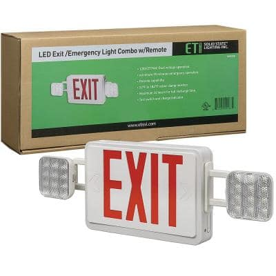 60-Watt Equivalent Integrated LED White Emergency Light / Exit Sign Combo Direct Wire with Battery Backup 6500K