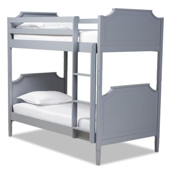 Baxton Studio Mariana Grey Wood Twin Size Bunk Bed 162 10307 Hd The Home Depot
