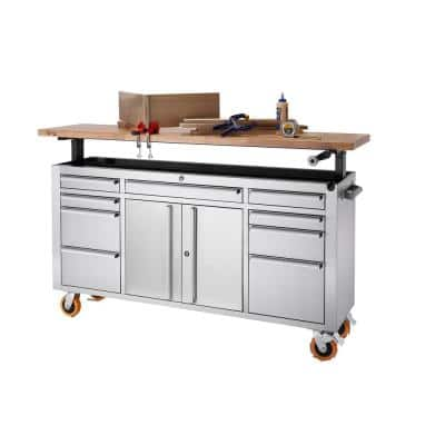 PRO 72 in. 9-Drawer Stainless Steel Workbench with Adjustable Top