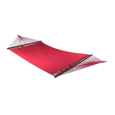 11 ft. 2-Person Large Rope Hammock Bed with Spreader Bar in Red