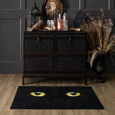 Cat Face Black 2 ft. x 3 ft. 4 in. Holiday Area Rug