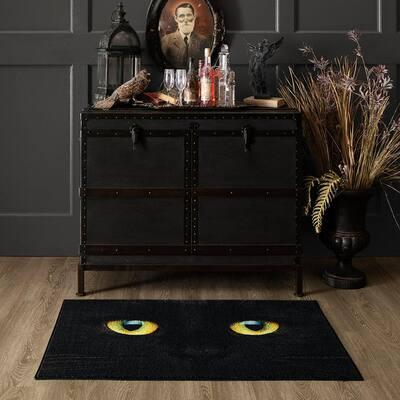 Cat Face Black 2 ft. x 3 ft. 4 in. Halloween Indoor Area Rug