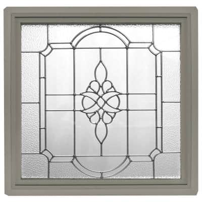 23.5 in. x 23.5 in. Driftwood Frame Victorian P E Nickel Caming 1 in. Nail Fin Offset Vinyl Picture Window