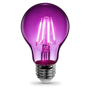 25-Watt Equivalent A19 Medium E26 Base Dimmable Filament Purple Colored LED Clear Glass Light Bulb (1-Bulb)