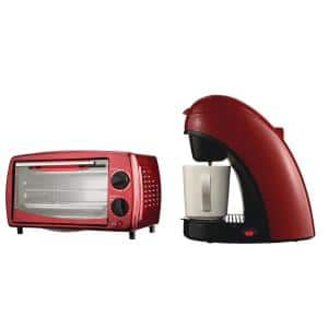 700-Watt Red Toaster Oven and Broiler with Red Single-Serve Coffee Maker and Mug