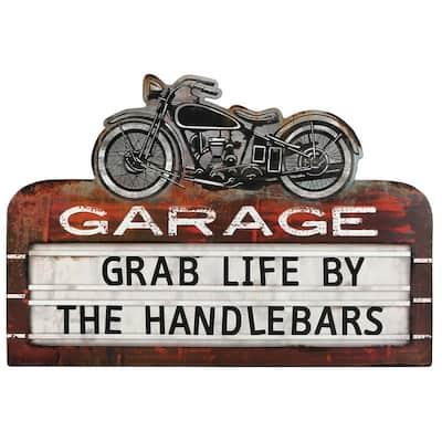 Handlebars Embossed Tin Sign