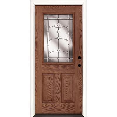 37.5 in. x 81.625 in. Carmel Patina 1/2 Lite Stained Medium Oak Left-Hand Inswing Fiberglass Prehung Front Door