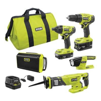 ONE+ 18-Volt Cordless 4-Tool Combo Kit with Bluetooth Speaker, (2) Batteries, Charger, and Bag