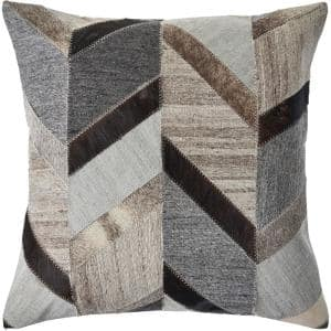 Creative Gray / Brown Chevron Soft Poly-fill 20 in. x 20 in. Throw Pillow