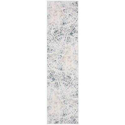 Vogue Cream/Teal 2 ft. x 8 ft. Abstract Distressed Runner Rug