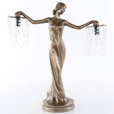 23.75 in. Bronze Grecian Goddess Lamp