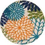 Aloha Multicolor 5 ft. x 5 ft. Floral Modern Indoor/Outdoor Round Area Rug