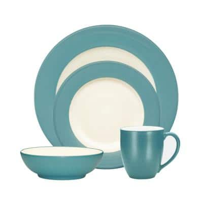 Colorwave Turquoise Stoneware Rim 4-Piece Place Setting (Service for 1)