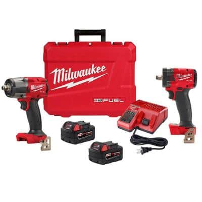 M18 FUEL GEN-2 18-Volt Lithium-Ion Brushless Cordless Mid Torque & Compact 1/2 in. Impact Wrench with Friction Ring Kit