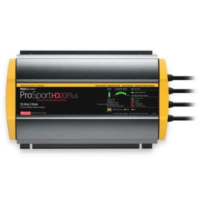 ProSportHD 20 Amp DC On-Board Waterproof Battery Charger, 3 Bank
