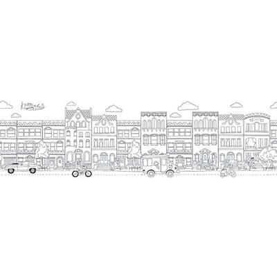City Black & White Wallpaper Border