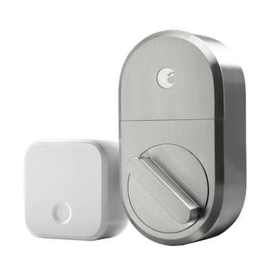 Smart Lock Silver Single Cylinder Deadbolt with Connect Wi-Fi Bridge