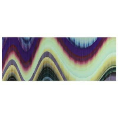 """63 in. x 24 in. """"Rumba Abstract 3"""" Frameless Free Floating Tempered Glass Panel Graphic Wall Art"""