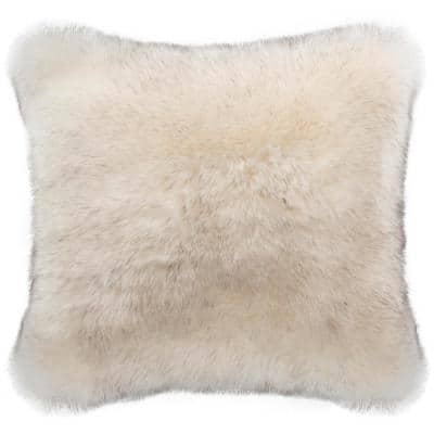 Coco Tips Taupe 20 in. x 20 in. Throw Pillow