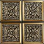 Lover's Knot Antique Gold 2 ft. x 2 ft. PVC Glue-up Faux Tin Ceiling Tile (100 sq. ft./case)