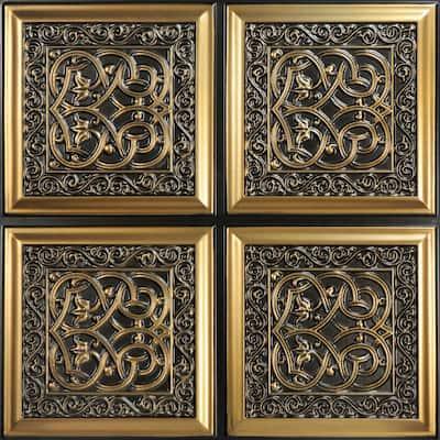 Lover's Knot 2 ft. x 2 ft. Glue Up PVC Ceiling Tile in Antique Gold