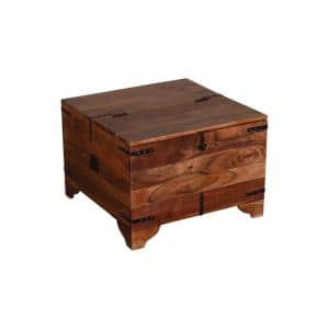 17.5 in. H Brown and Black Trunk Shape Mango Wood Storage Side/ End Table with Hinged Top