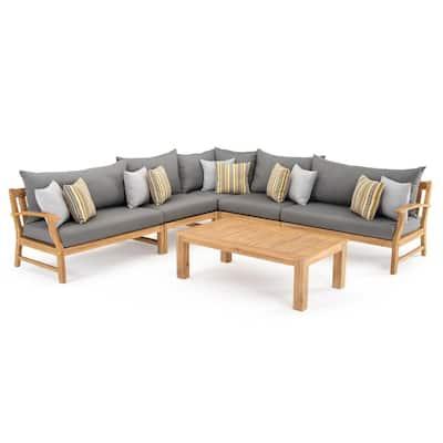 Kooper 6-Piece Wood Outdoor Sectional Set with Sunbrella Charcoal Grey Cushions