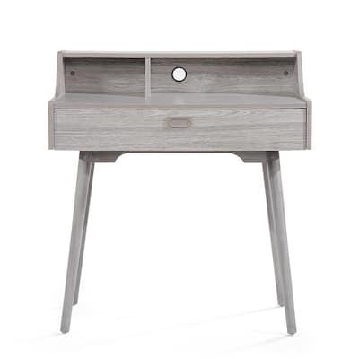 33 in. Rectangular Grey Oak 1 Drawer Secretary Desk with Built-In Storage