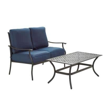 2-Piece Metal Outdoor Loveseat with Blue Cushions