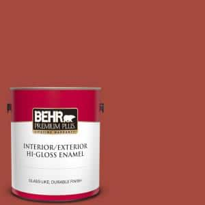 Behr Premium Plus 1 Gal 180b 6 Fiery Red Hi Gloss Enamel Interior Exterior Paint 830001 The Home Depot
