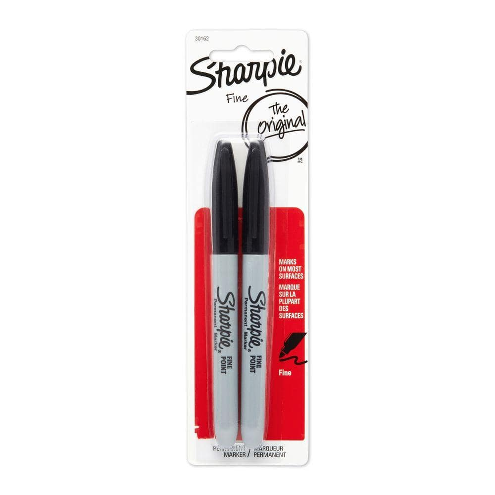 Sharpie Permanent Markers Fine Point Black 2-pack 30162PP for sale online