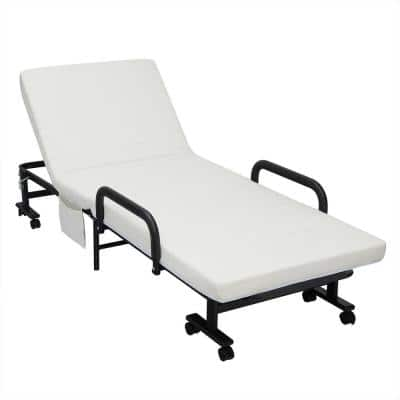 Folding Metal Outdoor Chaise Lounge with White Cushions, Adjustable Backrest and Locking Wheels