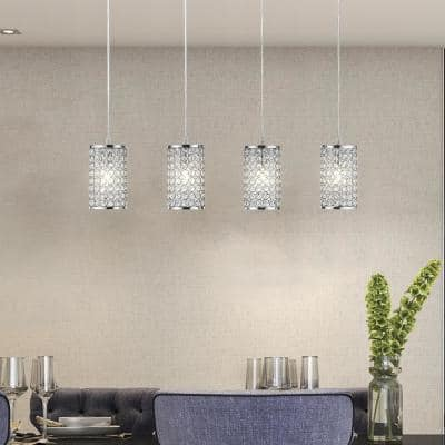 Monaco 30 in. 4-Light Chrome and Crystal Shade Ceiling Pendant Light