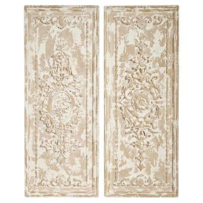16 in. x 41 in. Large Beige Rectangular Resin Wall Decor Panels (Set of 2)
