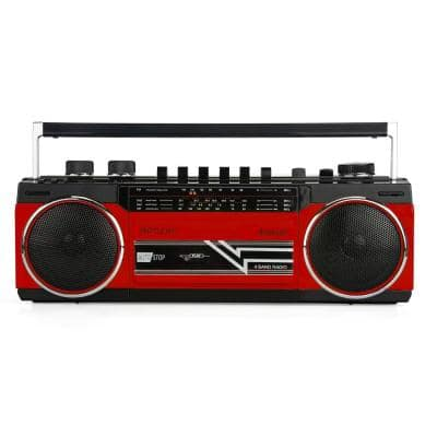 Portable Radio and Cassette Boombox with Bluetooth in Red