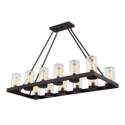 12-Light English Bronze Outdoor Hanging Chandelier with Brown Glass Shade
