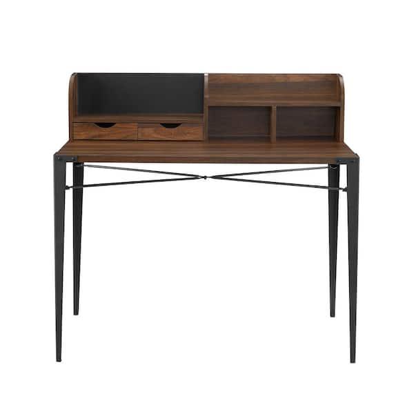Welwick Designs 42 in. Dark Walnut Rectangular 2 -Drawer Secretary Desk with Hutch | The Home Depot