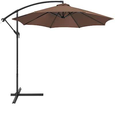 10 ft. Aluminum Market Outdoor Hanging Patio Umbrella in Brown