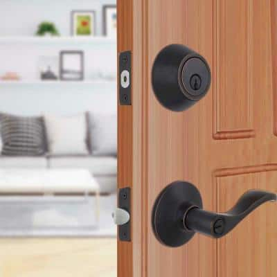 Naples Aged Bronze Entry Lever and Single Cylinder Deadbolt Combo Pack