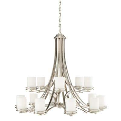 Hendrik 15-Light Brushed Nickel Chandelier with Satin Etched Glass Shade
