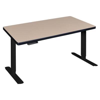 48 in. Rectangular Beige 1 Drawer Standing Desk with Adjustable Height Feature