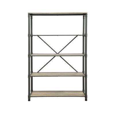 71 in. Sandy Gray/Oak Metal 4-shelf Etagere Bookcase with Open Back