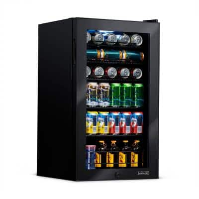 19 in. 126 (12 oz.) Can Freestanding Beverage Cooler Fridge with Adjustable Shelves, Modern Black
