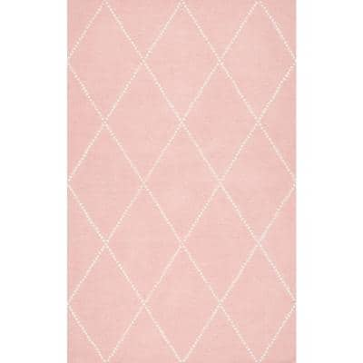 Elvia Mid Century Modern Moroccan Trellis Baby Pink 5 ft. x 8 ft. Area Rug