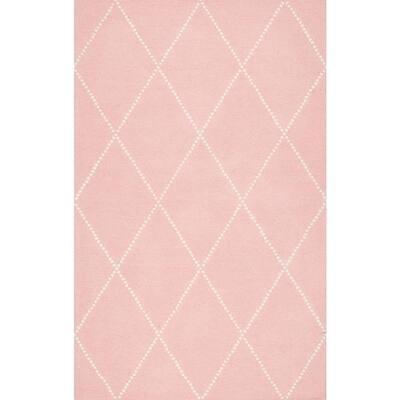 Elvia Mid Century Modern Moroccan Trellis Baby Pink 9 ft. x 12 ft. Area Rug
