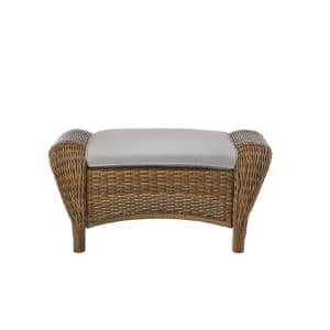 Beacon Park Brown Wicker Outdoor Patio Ottoman with CushionGuard Stone Gray Cushions