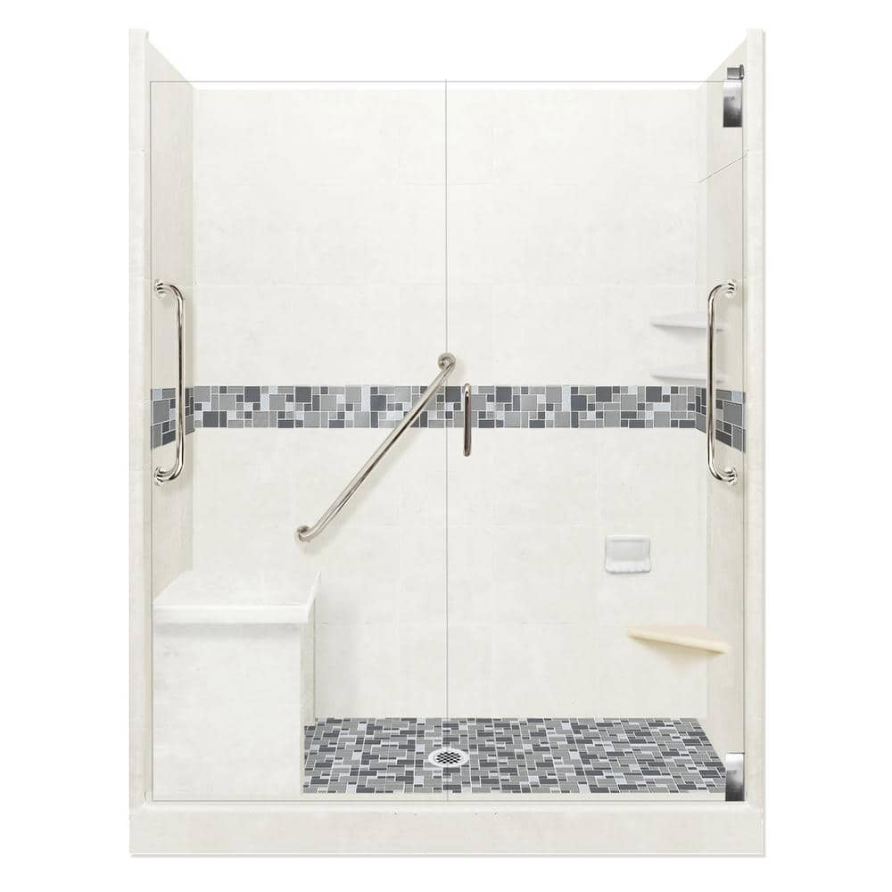 American Bath Factory Newport Freedom Grand Hinged 42 In X 60 In X 80 In Center Drain Alcove Shower Kit In Natural Buff And Satin Nickel Afgh 6042nn Cd Sn The Home Depot