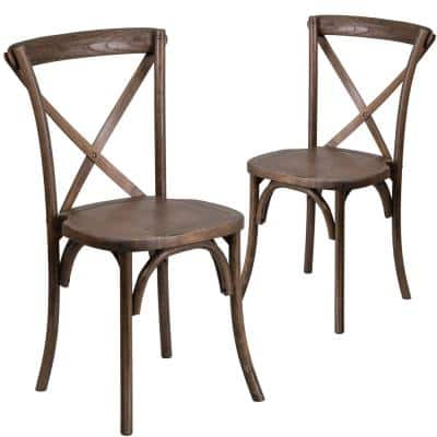 Early American Wood Cross Back Chairs (Set of 2)